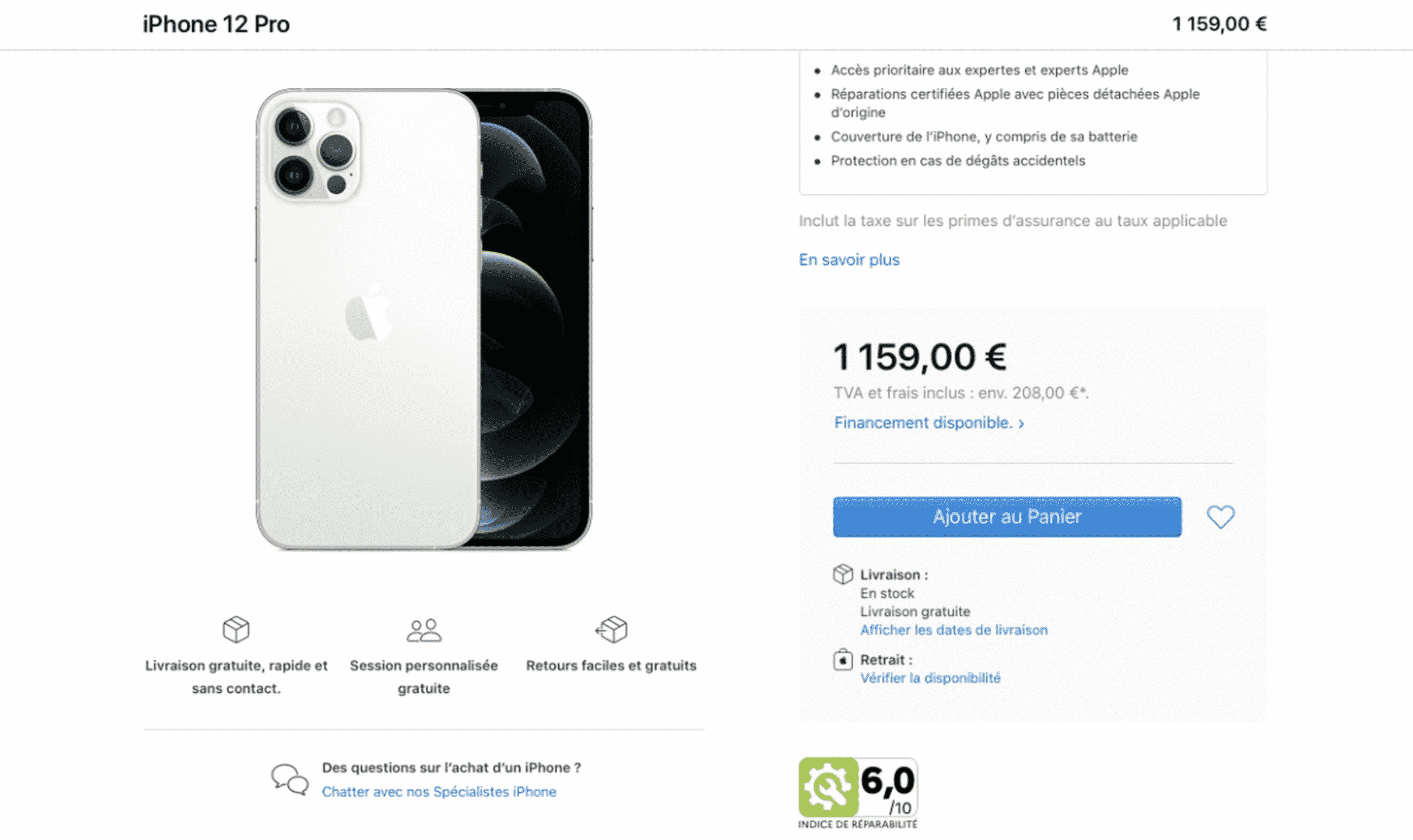 Repairability scores appear on official Apple France website