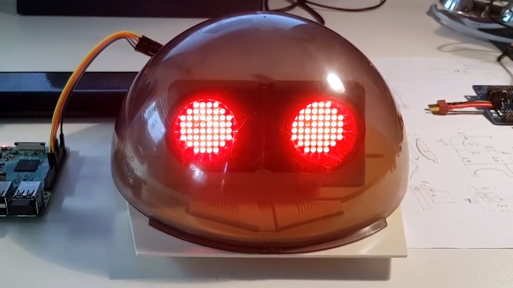Omnibot From The 80s Gets LED Matrix Eyes, Camera
