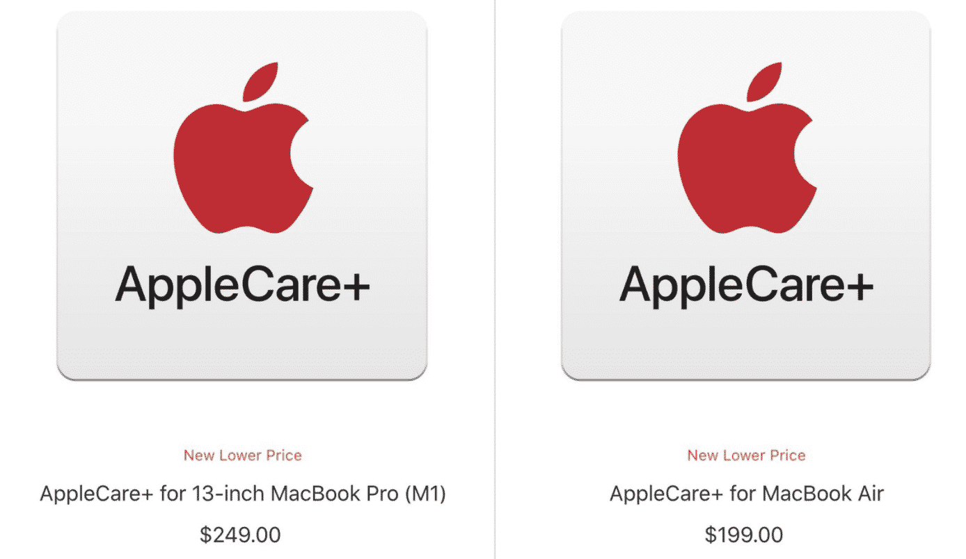 M1 MacBook Pro and MacBook Air get lower AppleCare+ prices
