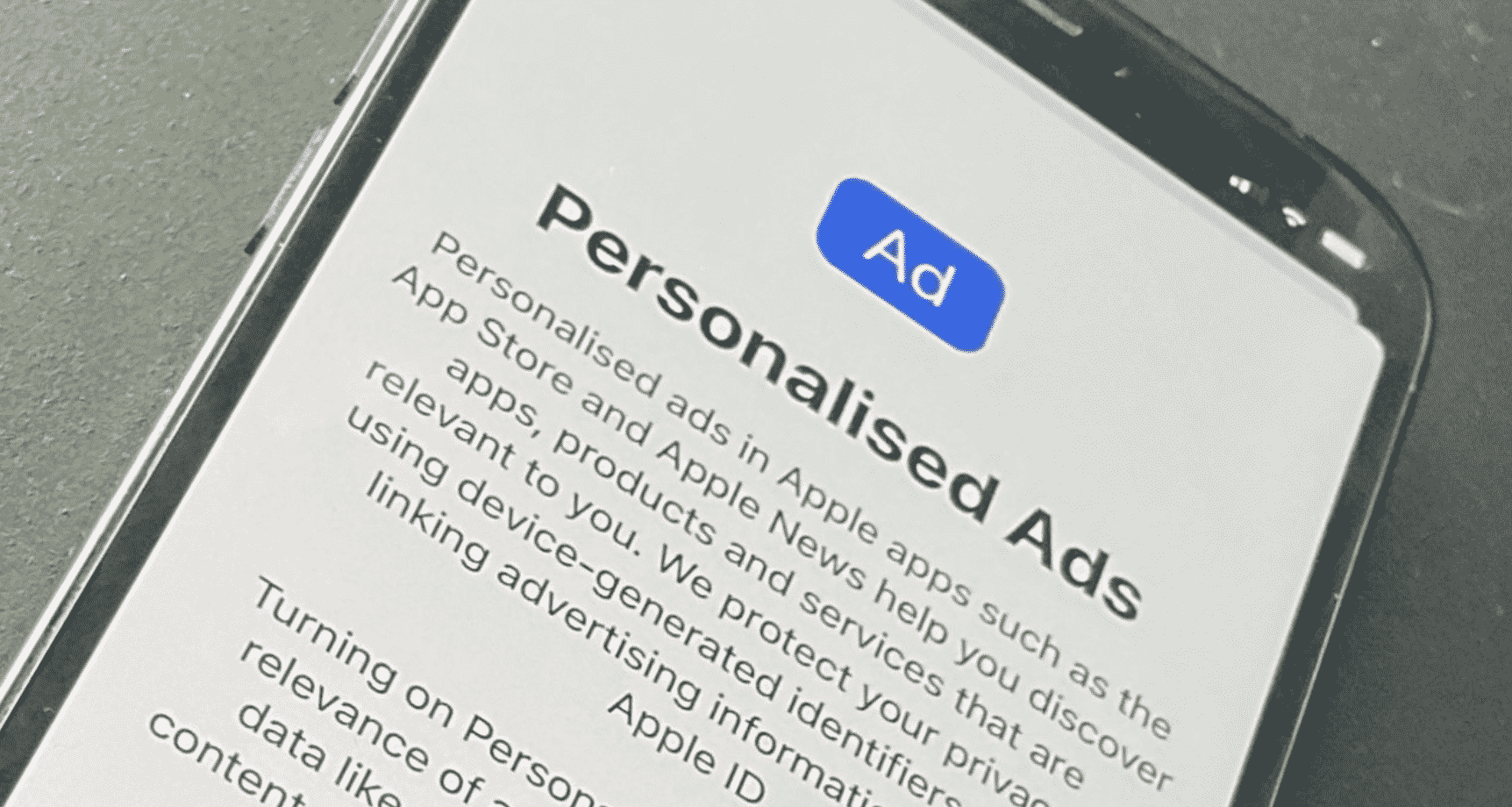 Personalized Ads toggle appears on iOS 15