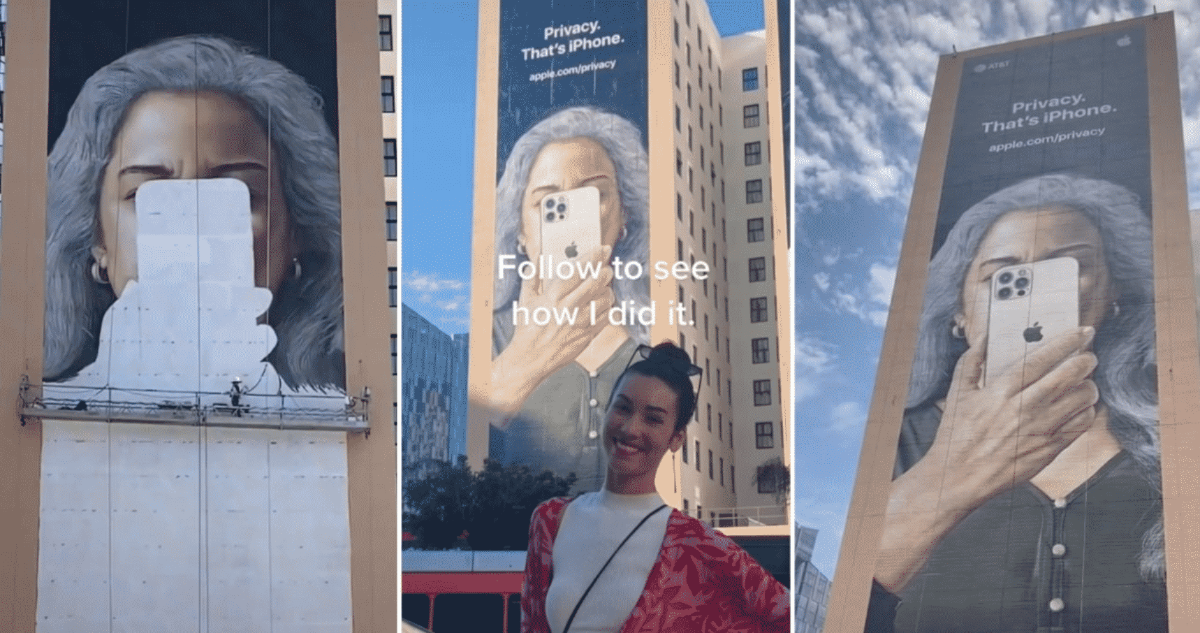 It took 4 artists and a week to complete the hand-painted 'Privacy' Apple mural