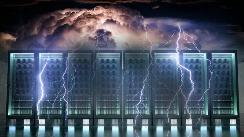 Storm clouds have been photoshopped to bring lightning down on computer components.